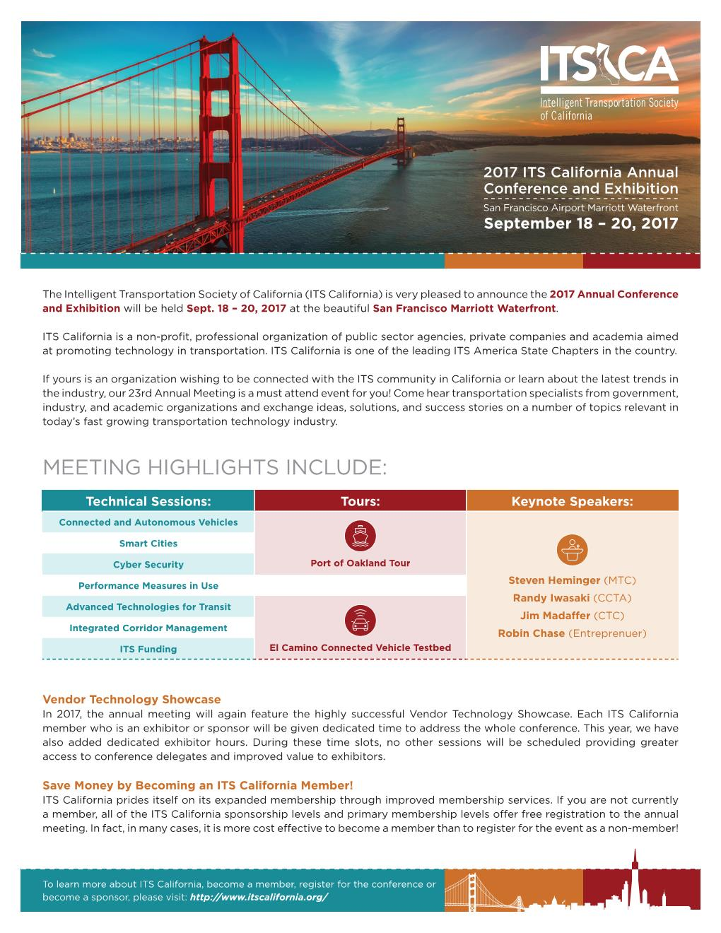 ITS CA Annual Meeting 2017 Flyers full